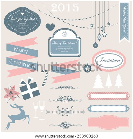 Vector illustration of a set of Christmas design elements