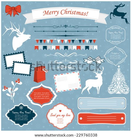 Vector illustration of a set of Christmas design elements in blue, red and white - stock vector