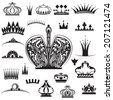 Vector illustration of a set of crowns in black and white - stock vector