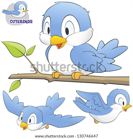 Vector illustration of a set of cute cartoon birds. Grouped and layered for easy editing
