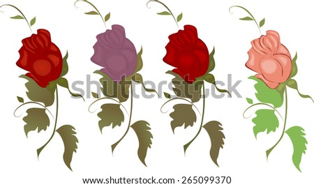 Vector illustration of a set of differently colored roses on a white background. - stock vector