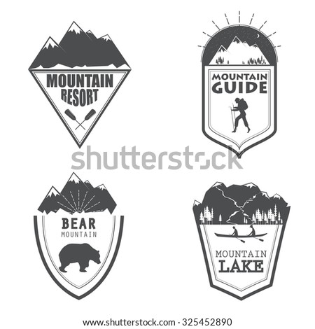 Vector illustration of a set of emblems related to wilderness trips and vocations in simple style - stock vector