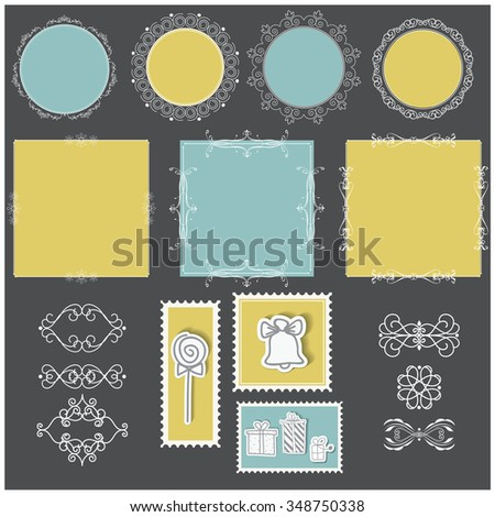 Vector illustration of a set of filigree blank tags, labels, frames, page dividers and stamps for scrapbook and design - stock vector