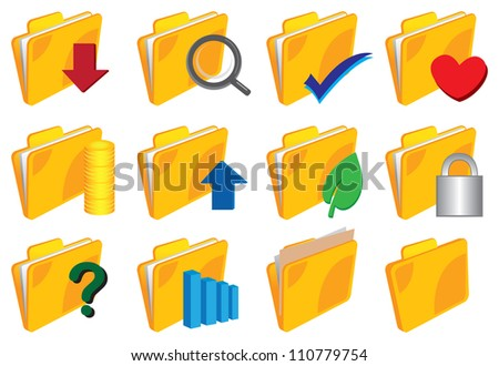 Vector illustration of a set of Folder with icons - stock vector