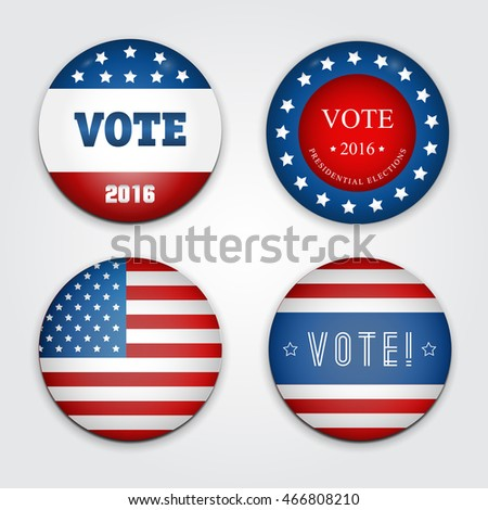 Vector Illustration of a set of four 2016 election buttons.