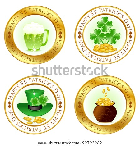 Vector illustration of a set of four glossy icons for patrick day celebration - stock vector