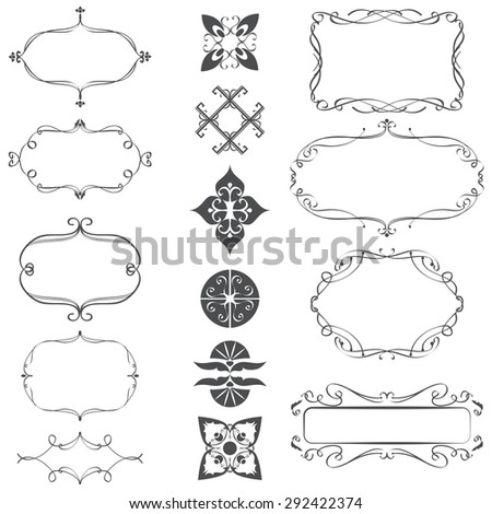 Vector illustration of a set of frames, ornamental vintage decoration, isolated on white - stock vector