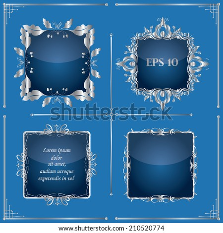 Vector illustration of a set of gorgeous silver ornamental frames with glass effect, EPS10 - stock vector