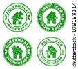 vector illustration of a set of green Eco friendly house  stamps - stock vector