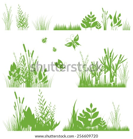 Vector illustration of a set of green grass, decorative elements