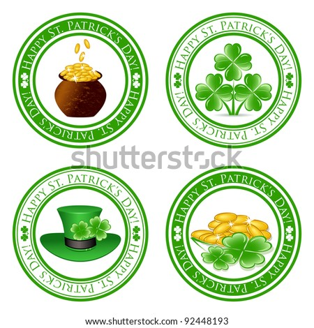 vector illustration of a set of green  stamps with four leaf clover shape, pot, gold coins, leprechaun hat and the text Happy St. Patrick's Day written inside the stamp - stock vector