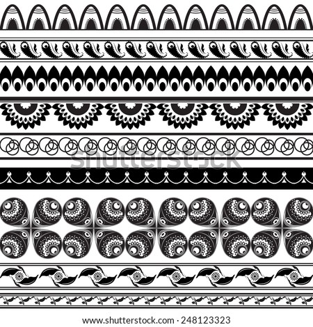 Vector illustration of a set of ornaments/brushes in tribal Slavic style, Indian mandala