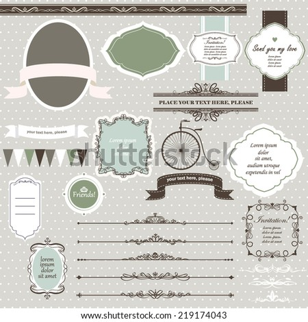 Vector illustration of a set of scrapbook, design elements - frames, calligraphic dividers, pennants