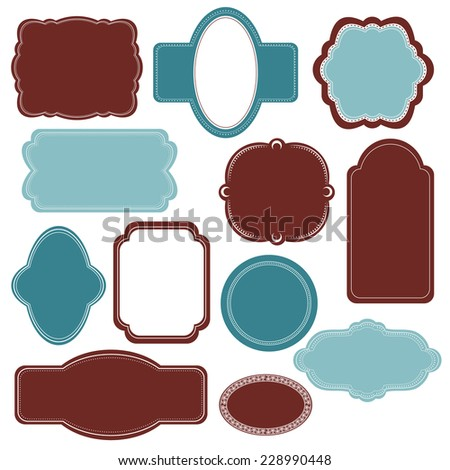 Vector illustration of a set of scrapbook design frame for Christmas and New Year holidays, birthdays and gifts - tags, labels, discount cards