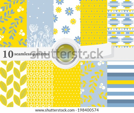 Vector illustration of a set of seamless patterns and backgrounds in bright contrast colors. - stock vector