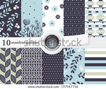 Vector illustration of a set of seamless patterns and backgrounds in contrast colors, romantic, floral theme. - stock vector
