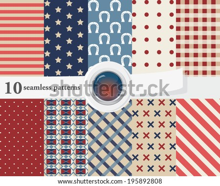 Vector illustration of a set of seamless patterns and backgrounds in deep red and blue colors, American and cowboy theme. - stock vector