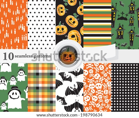 Vector illustration of a set of seamless patterns and backgrounds in orange, green and black colors. Halloween theme with ghosts, pumpkins, skulls and spooky houses.  - stock vector