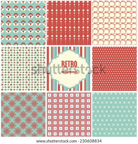 Vector illustration of a set of seamless retro backgrounds with geometric ornaments in contrast colors - stock vector