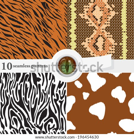 Vector illustration of a set of seamless textures and backgrounds, with an eps 10 glass button. Animal skin textures.