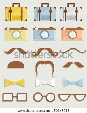 Vector illustration of a set of simple objects related to men - stock vector