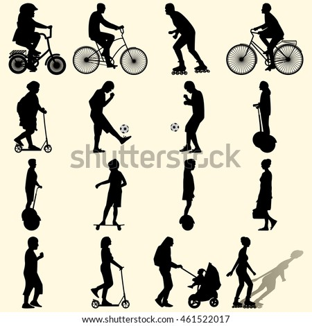 Vector illustration of a set of sixteen silhouettes of people active in the summer vacationers on the street in the city flat style