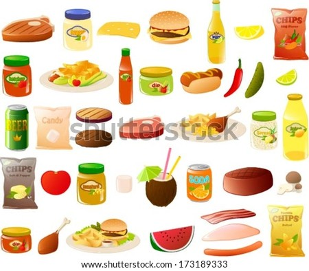 Vector illustration of a set of stereotypical BBQ food items.