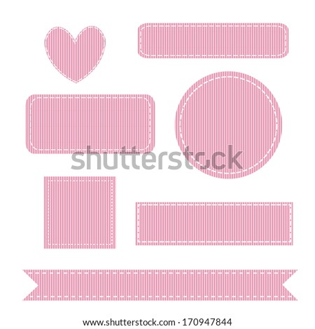 Vector Illustration of a Set of Stitched Grosgrain Patches. Also see other sets! - stock vector