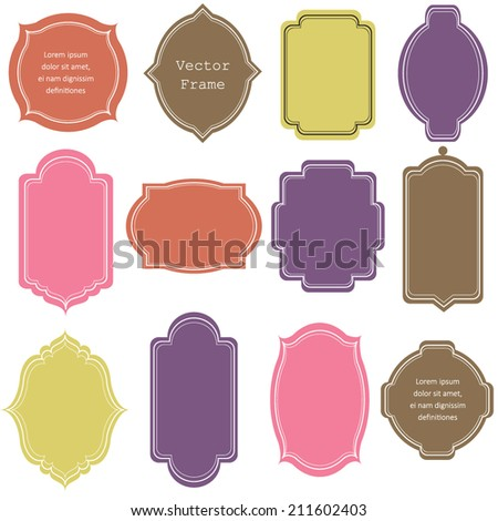 Vector illustration of a set of tags and frames