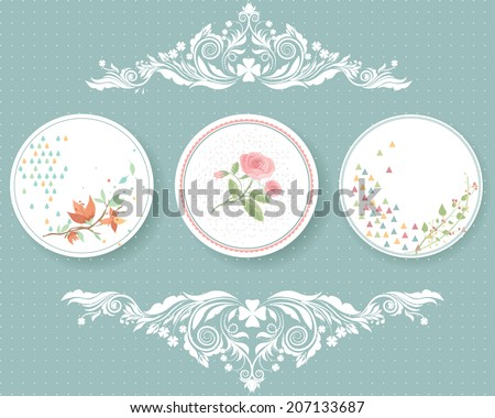 Vector illustration of a set of tags in tender colors, romantic, floral theme with calligraphic ornamental chapter dividers in Victorian style