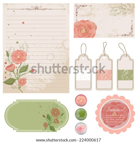Vector illustration of a set of tags labels and scrap paper for design and decoration with flowers in tender colors