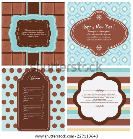 Vector illustration of a set of tags, labels, postcard templates in chocolate, brown colors - stock vector