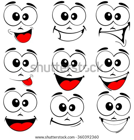 Vector illustration of a set smiling cartoon faces - happy eyes and mouth on white - stock vector