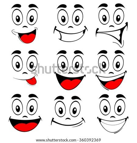vector illustration set smiling cartoon faces stock vector 360392369 rh shutterstock com cute smiling cartoon faces cartoon smiling faces clipart
