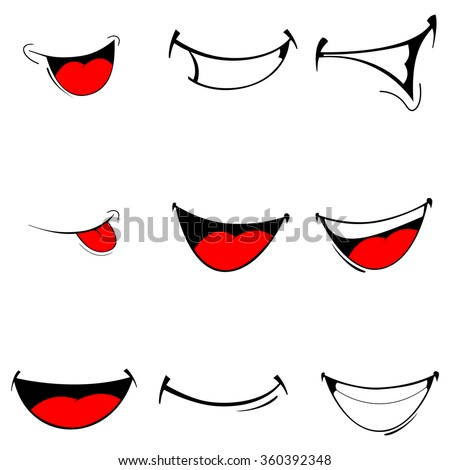 Vector illustration of a set smiling cartoon - happy mouth on white - stock vector