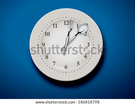 vector illustration of a set table and time for lunch  - stock vector