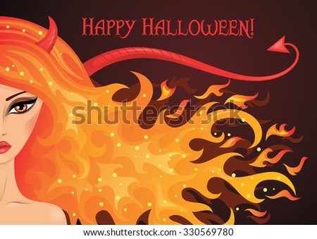 Vector illustration of a sexy devil with hair in the shape of fire.  - stock vector