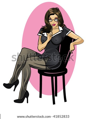 vector illustration of a  sexy secretary sitting on a chair - stock vector