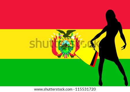 Vector Illustration of a sexy woman silhouette with shopping bags with the flag of Bolivia