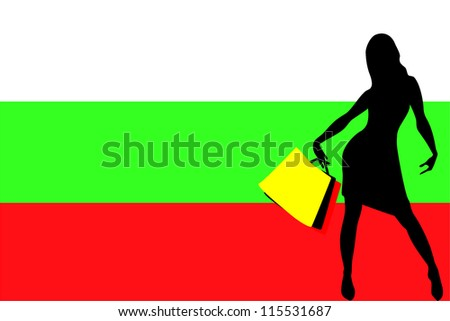Vector Illustration of a sexy woman silhouette with shopping bags with the flag of Bulgaria