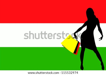 Vector Illustration of a sexy woman silhouette with shopping bags with the flag of Hungary