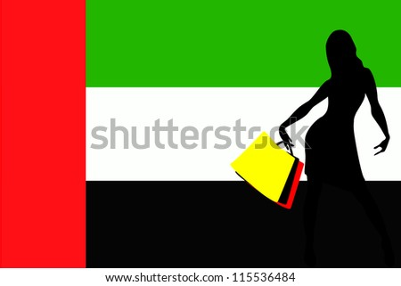 Vector Illustration of a sexy woman silhouette with shopping bags with the flag of United Arab Emirates