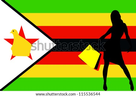 Vector Illustration of a sexy woman silhouette with shopping bags with the flag of Zimbabwe