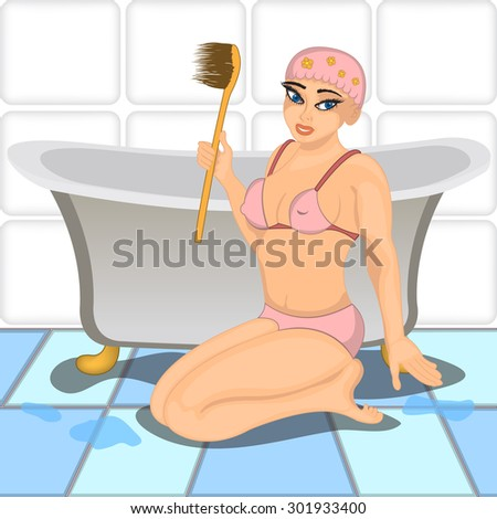 Vector illustration of a sexy young girl in her bathroom. - stock vector