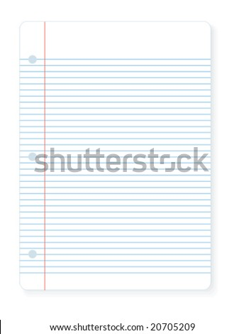 Vector illustration of a sheet of notebook lined paper you can write on.