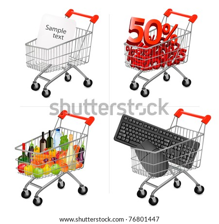Vector illustration of a shopping carts on the white. - stock vector