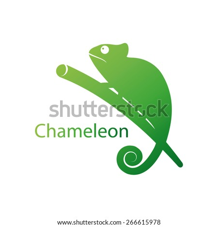 Vector illustration of a silhouette of a chameleon - stock vector