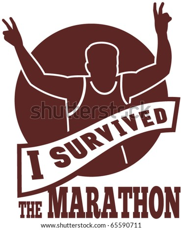 "vector illustration of a silhouette of Marathon runner flashing victory hand sign done in retro style with   sunburst set inside circle with words ""i survived the marathon"" - stock vector"