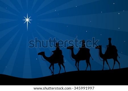 Vector illustration of a silhouetted three wise men and the Christmas star.