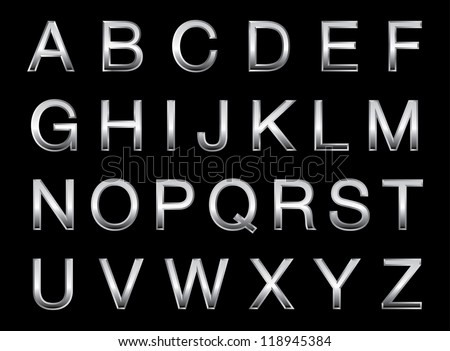Vector illustration of a silver alphabet. - stock vector